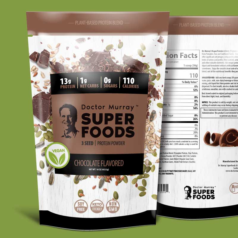 Protein powder label for pouches